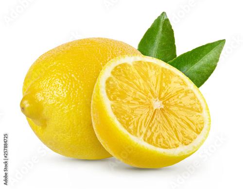 Fototapeta Composition with lemons isolated on white background.