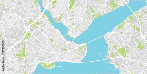 Obraz na plátně Urban vector city map of Istanbul, Turkey