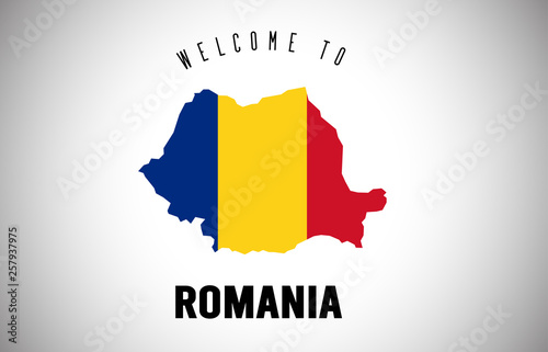 Canvas Print Romania Welcome to Text and Country flag inside Country border Map Vector Design