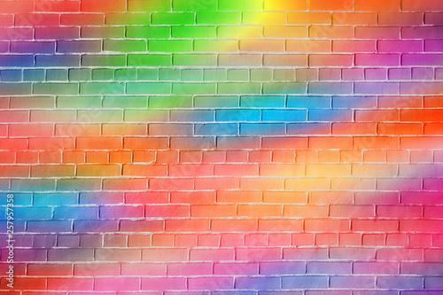 Bright rainbow colored bric...