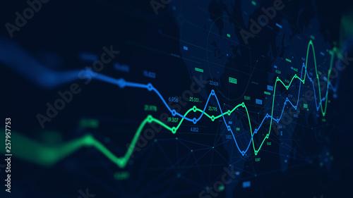 Fotografia Digital analytics data visualization, financial schedule, monitor screen in pers