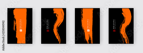Banners with abstract ink brush. eps10 vector illustration