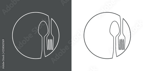 Valokuva Icono plano lineal cubiertos en círculo en gris y blanco