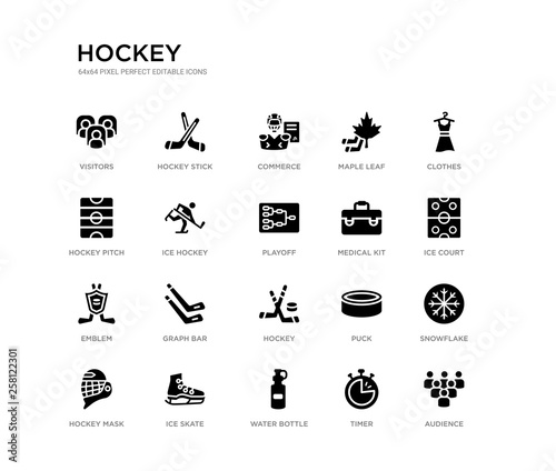 Photo set of 20 black filled vector icons such as audience, snowflake, ice court, clothes, timer, water bottle, hockey pitch, maple leaf, commerce, hockey stick