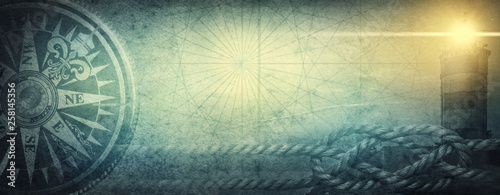 Photo Old sea compass, lighthouse and sea knot on abstract map background