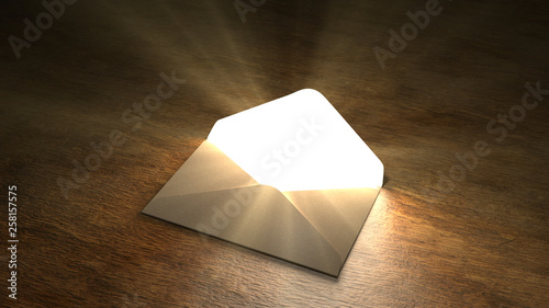 Fotografia Fairytale mail. Mysterious letter with magic light. 55.