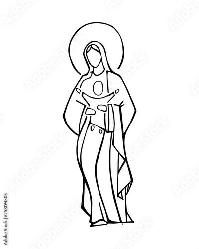 Fotografia Virgin Mary and baby Jesus ink vector illustration