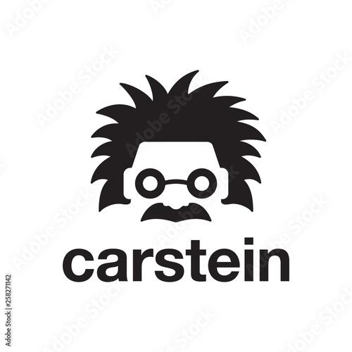 Photo einstein head face with car logo design template