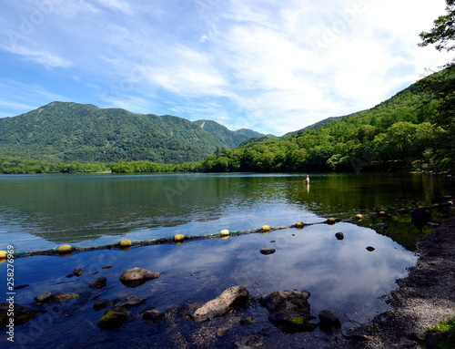 Lake Chūzenji is a scenic lake surounded by the moutains in Nikkō National Park in the city of Nikkō, Japan