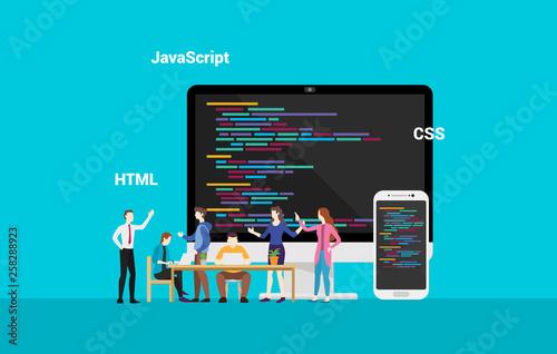 Obraz na plátně programming website frontend developepr working together - vector