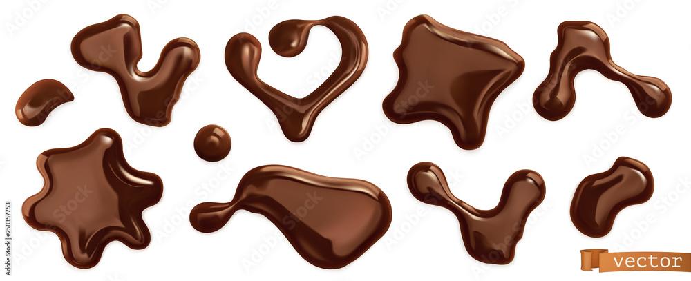 Wall mural Chocolate drops. 3d realistic vector set