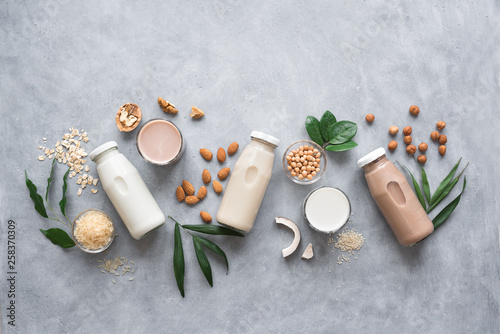 Photo Various plant based milk