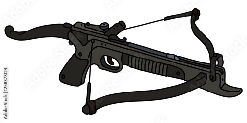 Leinwand Poster The vectorized hand drawing of a modern black sport crossbow