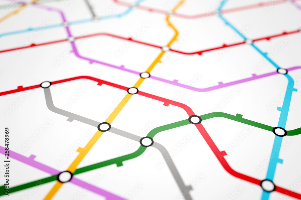 Colorful metro scheme, railway transport or city bus map <span>plik: #258478969 | autor: faraktinov</span>