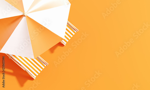 Fotografie, Obraz Top view beach umbrella with beach chairs on orange background