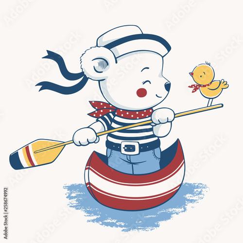 Hand drawn vector illustration of a cute baby bear steering a gondola Fototapeta