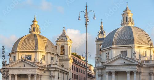 Fotografie, Obraz Churches at  Piazza del Popolo