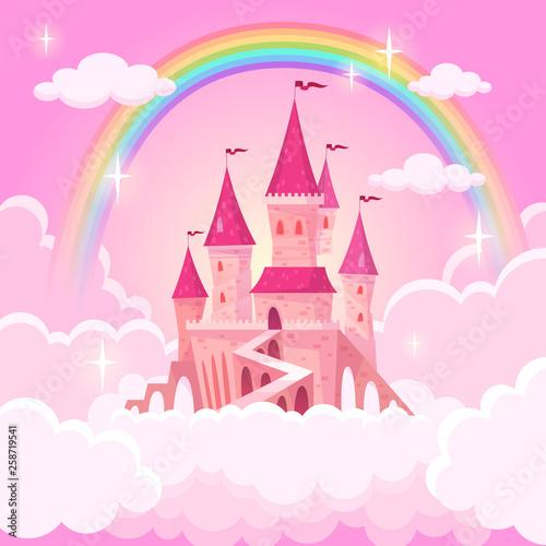 Zamek księżniczki. Fantazja latający pałac w różowych magicznych chmurach. Bajkowy królewski średniowieczny niebiański pałac. Ilustracja kreskówka wektor