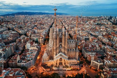 Tablou Canvas Sagrada Familia aerial view