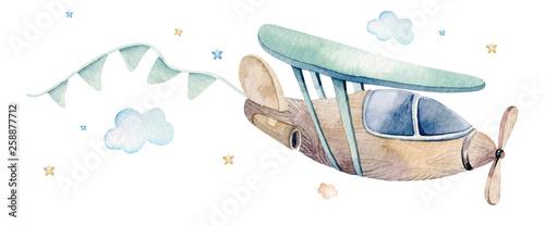 Akwarela zestaw ilustracji tła uroczej kreskówki i fantazyjnej sceny nieba wraz z samolotami, helikopterami, samolotem i balonami, chmury.