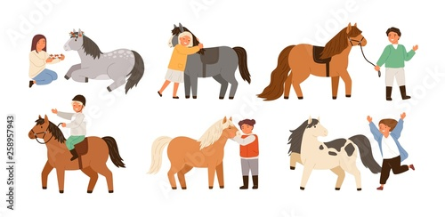 Fototapeta Collection of children and ponies