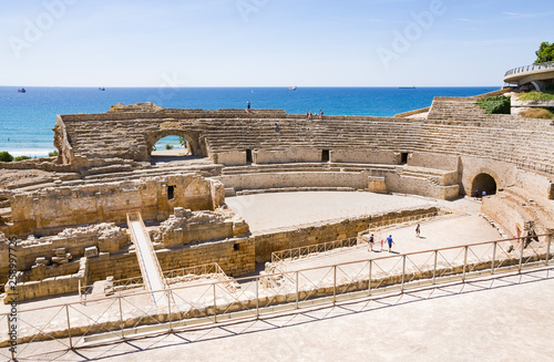 View of Roman amphitheater in Tarragona Fototapet