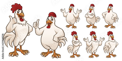 Canvastavla Cartoon Rooster and Chicken Mascot with 8 poses_EPS 10 Vector