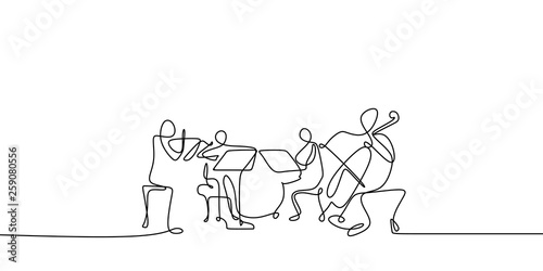 Stampa su Tela continuous line drawing of jazz classical music concert performance on the stage