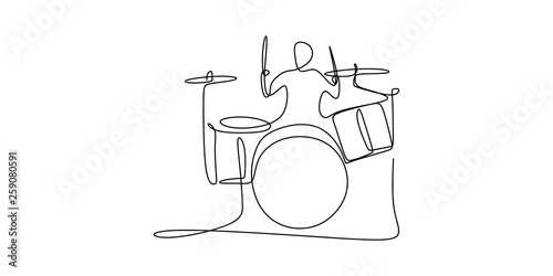 drummer jazz player one continuous line drawing Fototapet