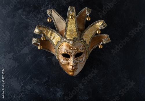 Fotografie, Obraz Venetian mask on a black background