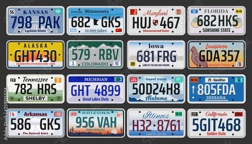 Fotografia USA American states vehicle registration plates