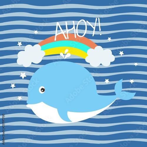 Kartkę z życzeniami z uroczym małym wielorybem na tle w niebieskie paski.
