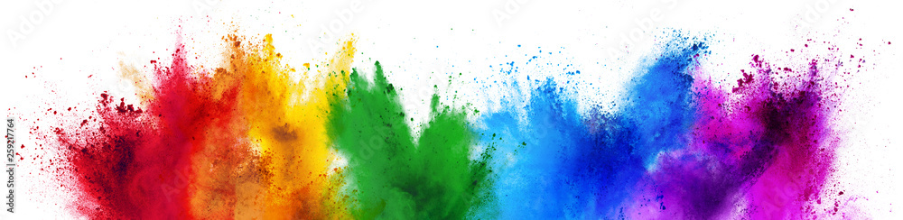 colorful rainbow holi paint color powder explosion isolated white wide panorama background