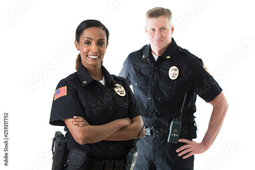Canvas Print Police: Officer Partners Standing Together