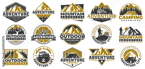 Photographie Set of Adventure and outdoor vintage logo template, badge or emblem style