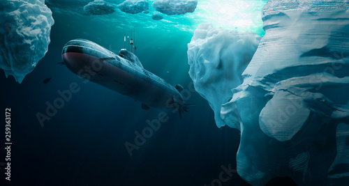 Canvas-taulu Submarine dives under the ice
