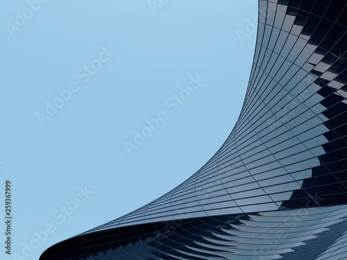 Fotografia 3D stimulate of high rise curve glass building and dark steel window system on blue clear sky background,Business concept of future architecture,lookup to the angle of the corner building