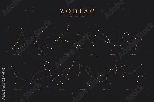 zodiac constellations on a dark night sky background with stars,  astrology / as Fototapeta