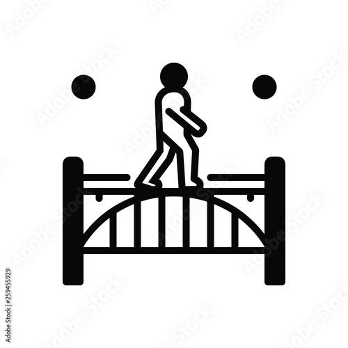 Fotografie, Tablou Black solid icon for footbridge