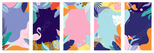 Collection of abstract background designs - summer sale, social media promotional content. Vector illustration