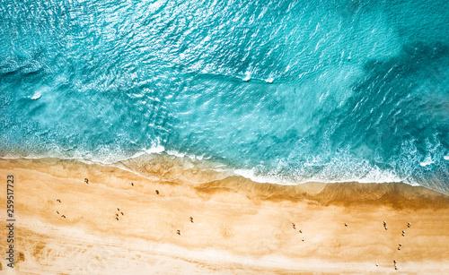 Fotografie, Obraz Aerial photo of summer beach and blue ocean with sky.
