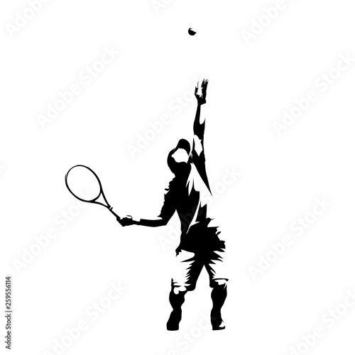 Stampa su Tela Tennis player serving ball, service, abstract isolated vector silhouette