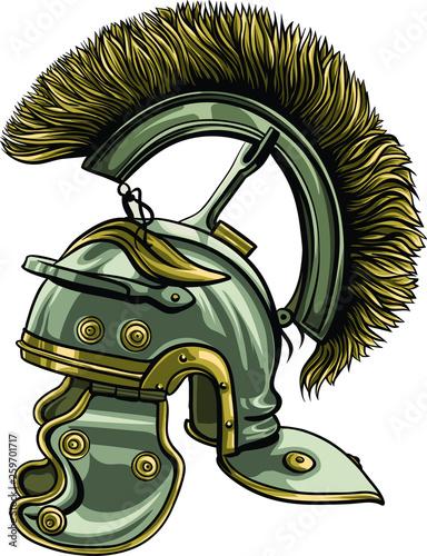 Fototapeta Roman centurion helmet with the crest vector format