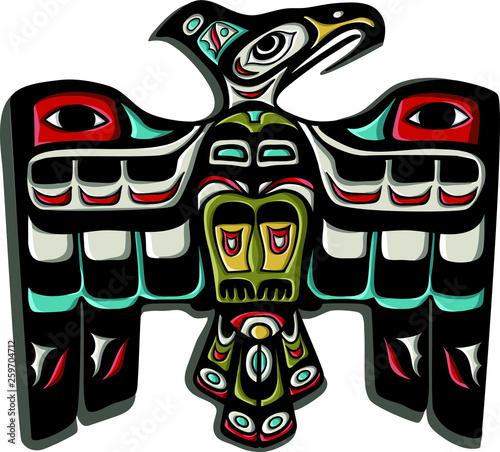 Photo Traditional thunderbird eagle vector. Native american symbol.