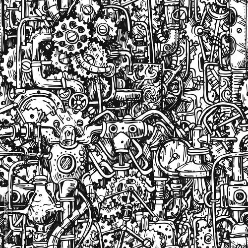 Obraz na plátně Steampunk style hand drawn vector mechanism.