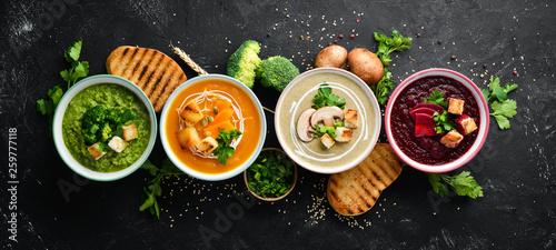 Fotografia Assortment of colored vegetable cream soups
