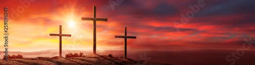 Foto Crucifixion Of Jesus Christ At sunset