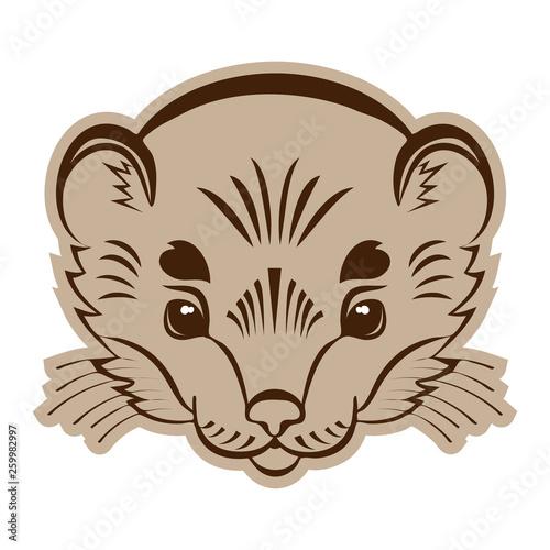 Logo ermine head. Stylized mascot. Fototapeta
