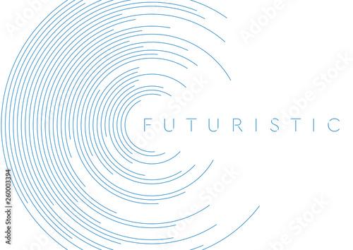 Obraz na plátně Blue circular lines abstract futuristic tech background