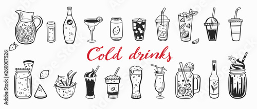 Vector hand drawn set of Cold drinks, summer cocktails and beverages with fruits. Various doodles for beach party, bar, restaurant menu. Isolated objects